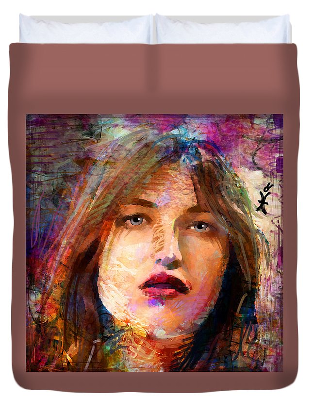 Woman Duvet Cover featuring the painting Santia Beauty Face 1062 by Maciej Mackiewicz