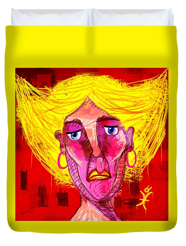 Woman Duvet Cover featuring the painting Santia Sour Face 1060 by Maciej Mackiewicz