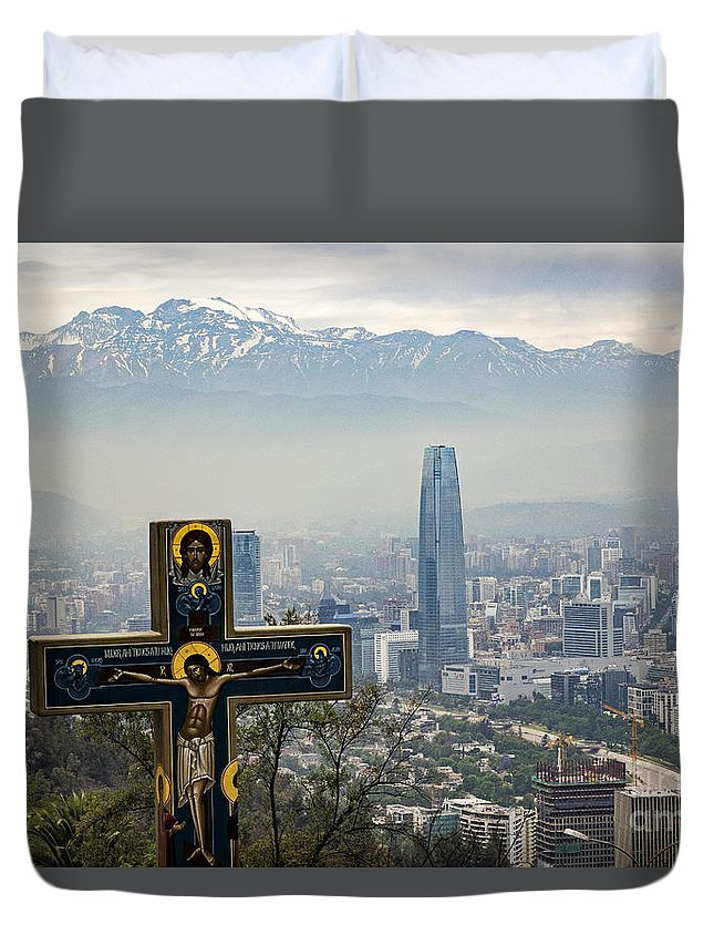 Santiago Duvet Cover featuring the photograph Santiago Chile Panoramic by Kenneth Lempert