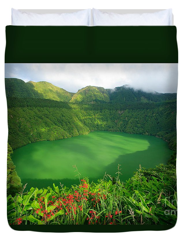 Azores Duvet Cover featuring the photograph Santiago Lake by Gaspar Avila