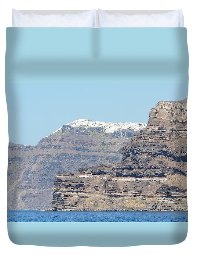 Santorin Duvet Cover featuring the photograph Santorini Fira by Valerie Ornstein