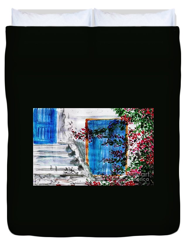 Santorini Duvet Cover featuring the painting Santorini -greece by Sweeping Girl