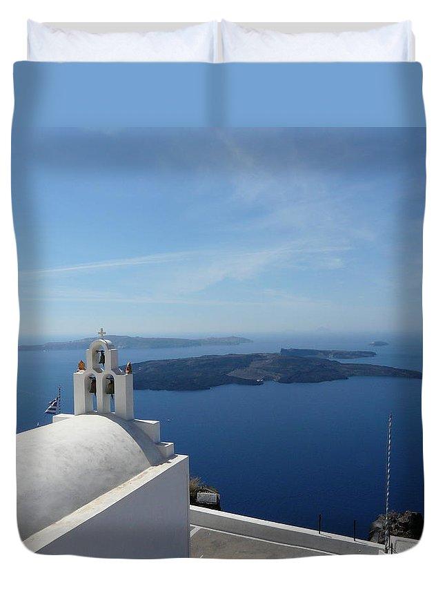 Landscape Duvet Cover featuring the photograph Santorini Greece by Valerie Ornstein