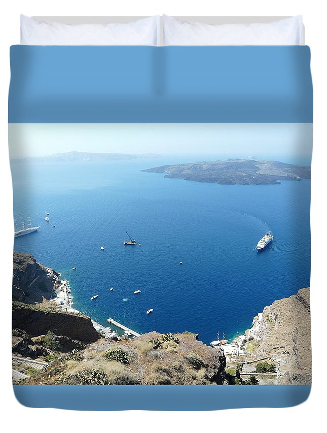 Santorin Duvet Cover featuring the photograph Santorini Old Port At Fira by Valerie Ornstein