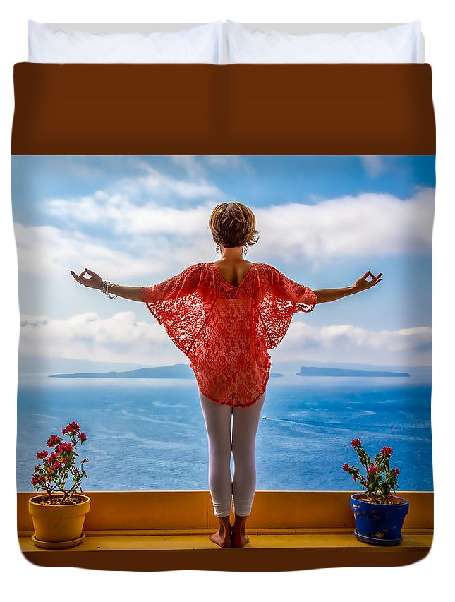 Santorini Duvet Cover featuring the photograph Santorini Yoga Goddess by Stuart Smith