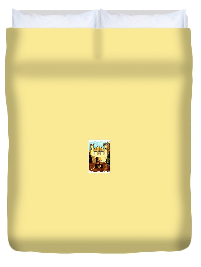 spanish Mission Duvet Cover featuring the painting Santuario De Chimayo by Michael Vigliotti
