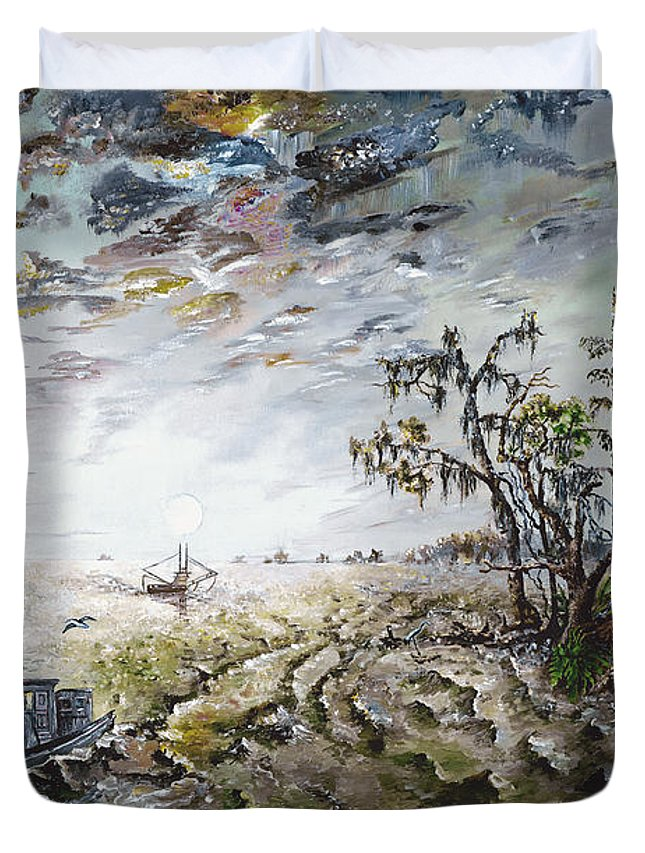 Lighthouse Duvet Cover featuring the painting Sapelo Island by Richard Barham