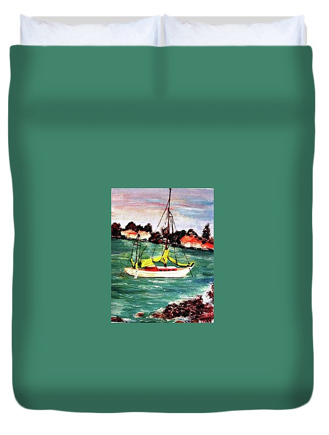 Acrylic Duvet Cover featuring the painting Sarasota Bay Sailboat by Angela Murray
