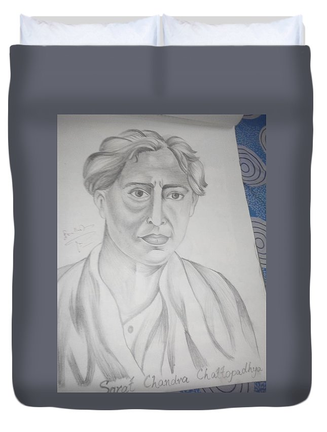 Portrait Of Sarat Chandra Chattopadhyay Duvet Cover featuring the drawing Sarat Chandra Chattopadhyay by Ghazala Yasmeen