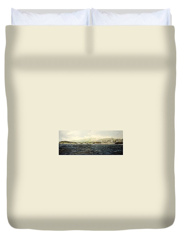 Sardinero Duvet Cover featuring the painting Sardinero y Magdalena by Tomas Castano