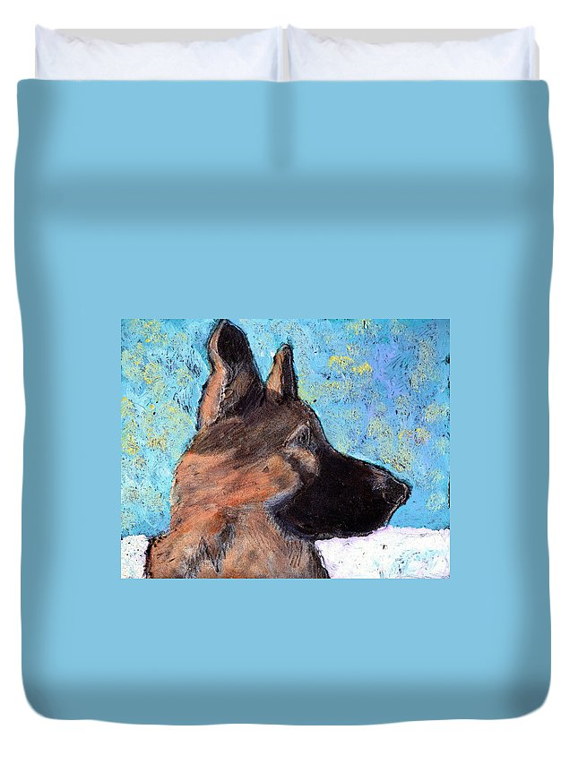 Dog Duvet Cover featuring the painting Sarge II by Wayne Potrafka