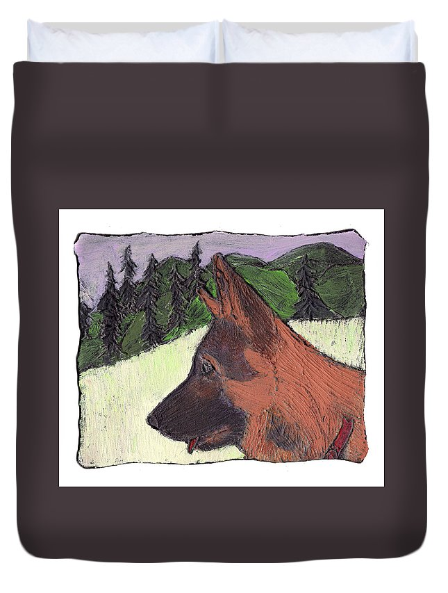 Dog Duvet Cover featuring the painting Sarge by Wayne Potrafka