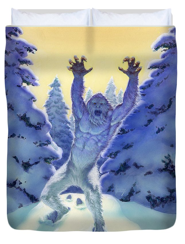 Fantasy Duvet Cover featuring the painting Sasquatch by Richard Hescox