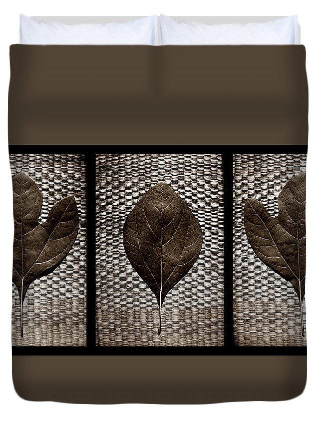 Sassafras Duvet Cover featuring the photograph Sassafras Leaves With Wicker by Michelle Calkins