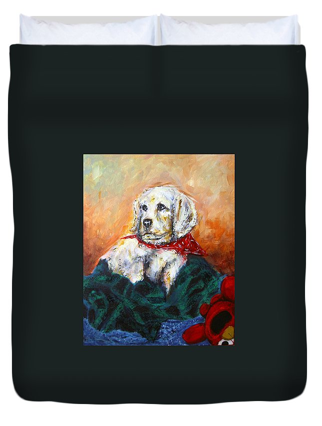 Cocker Spaniel Duvet Cover featuring the painting Sassy by Thomas Lupari