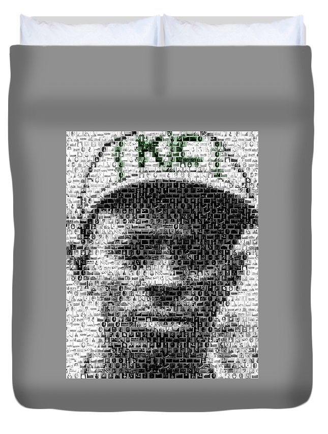 Negro Leagues Duvet Cover featuring the mixed media Satchel Paige Kc Monarchs African American Mosaic by Paul Van Scott