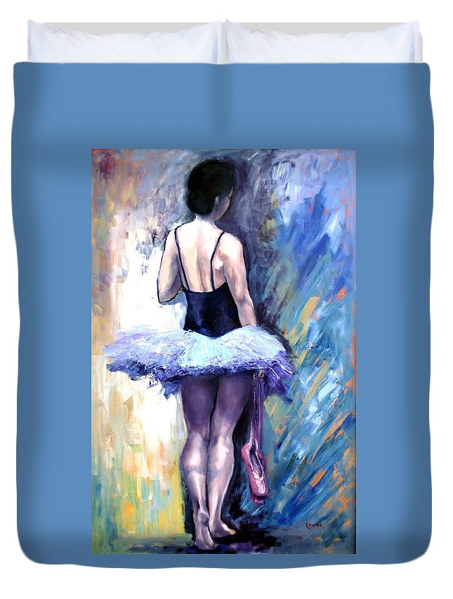 Ballerina Duvet Cover featuring the painting Satin Shoes by Janet Lavida