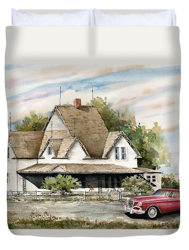 Hawk Studebaker Saturday Duvet Cover featuring the painting Saturday Evening 1964 by Sam Sidders