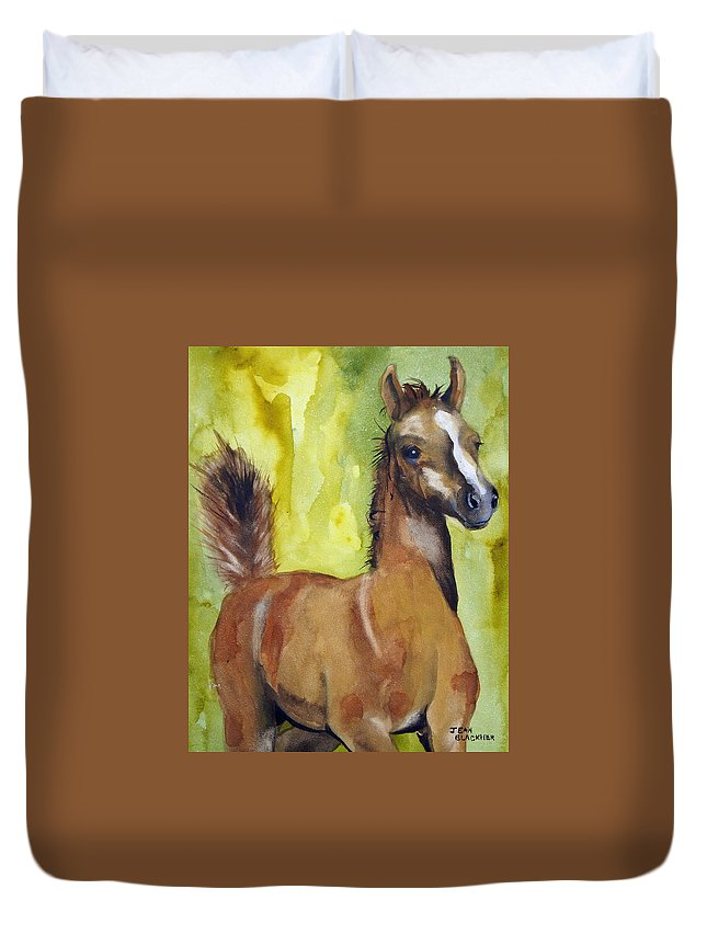 Filly Duvet Cover featuring the painting Saucy by Jean Blackmer