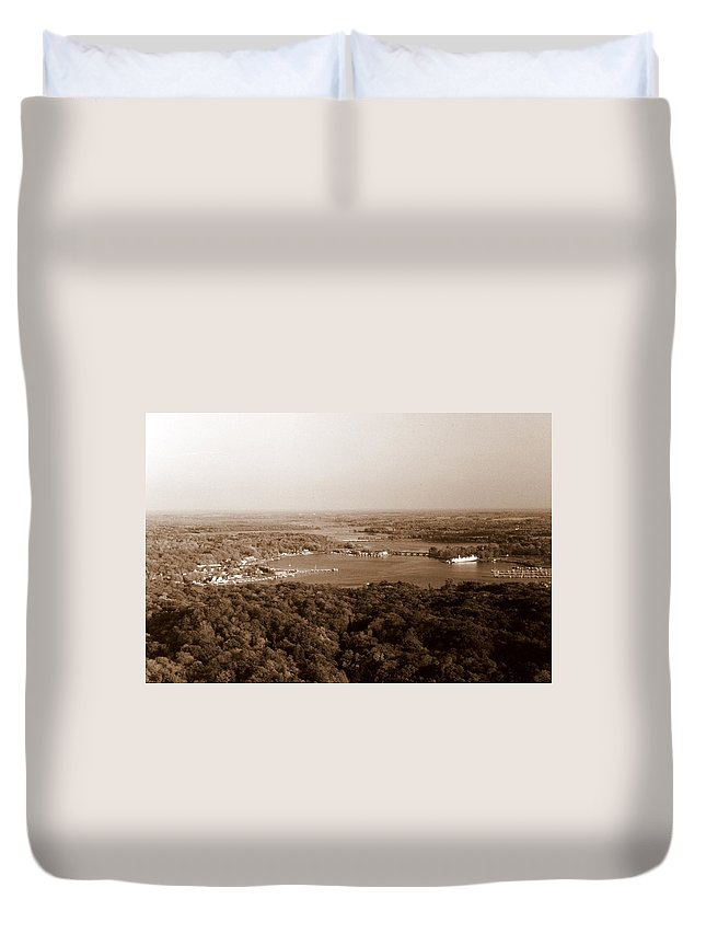 Saugatuck Duvet Cover featuring the photograph Saugatuck Michigan Harbor Aerial Photograph by Michelle Calkins