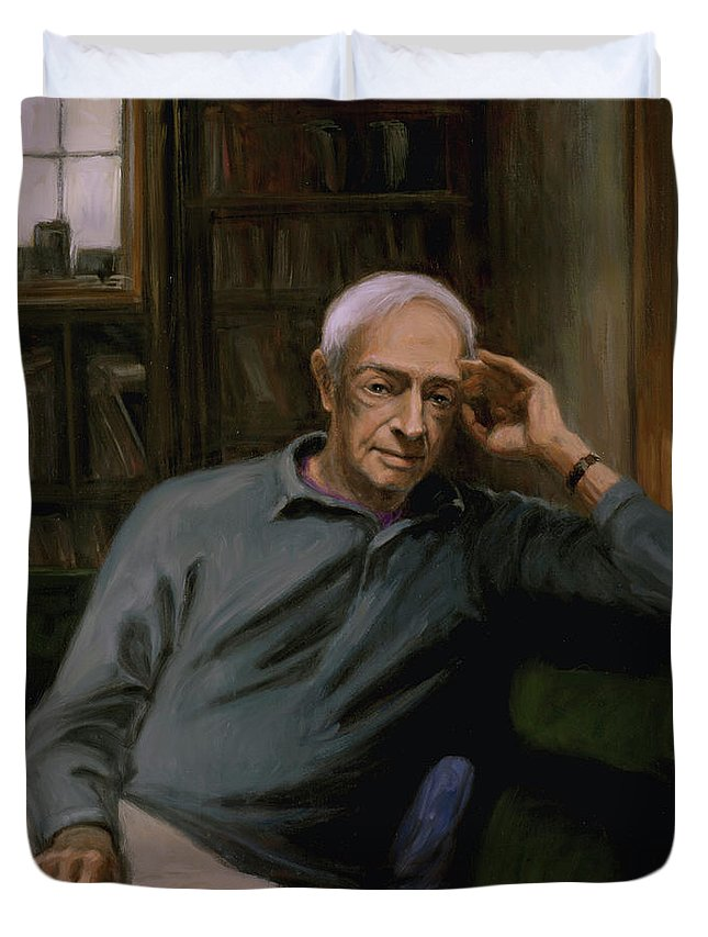 Saul Bellow Duvet Cover featuring the painting Saul Bellow by Sarah Yuster