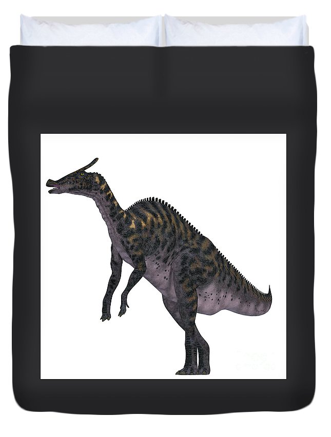 Saurolophus Duvet Cover featuring the painting Saurolophus Dinosaur On White by Corey Ford