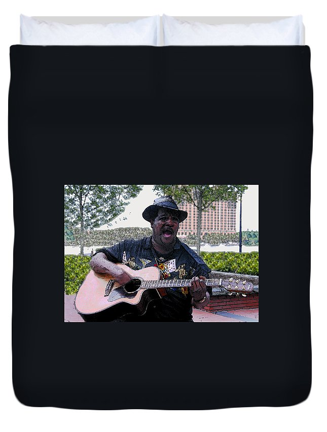 Blues Duvet Cover featuring the painting Savanna Blues Man by David Lee Thompson