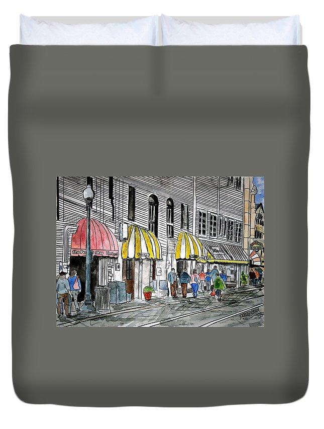 Cityscape Duvet Cover featuring the painting Savannah Georgia River Street 2 Painting Art by Derek Mccrea