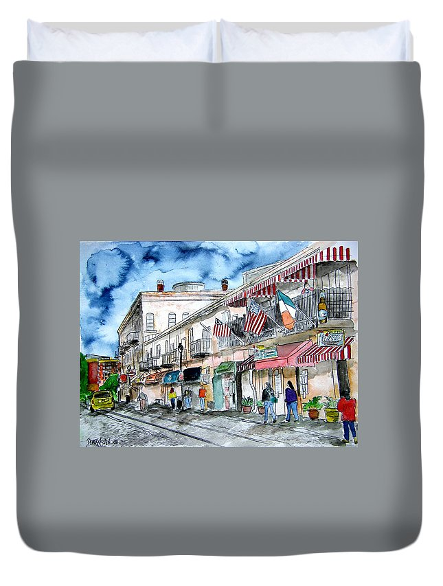 Pen And Ink Duvet Cover featuring the painting Savannah Georgia River Street by Derek Mccrea