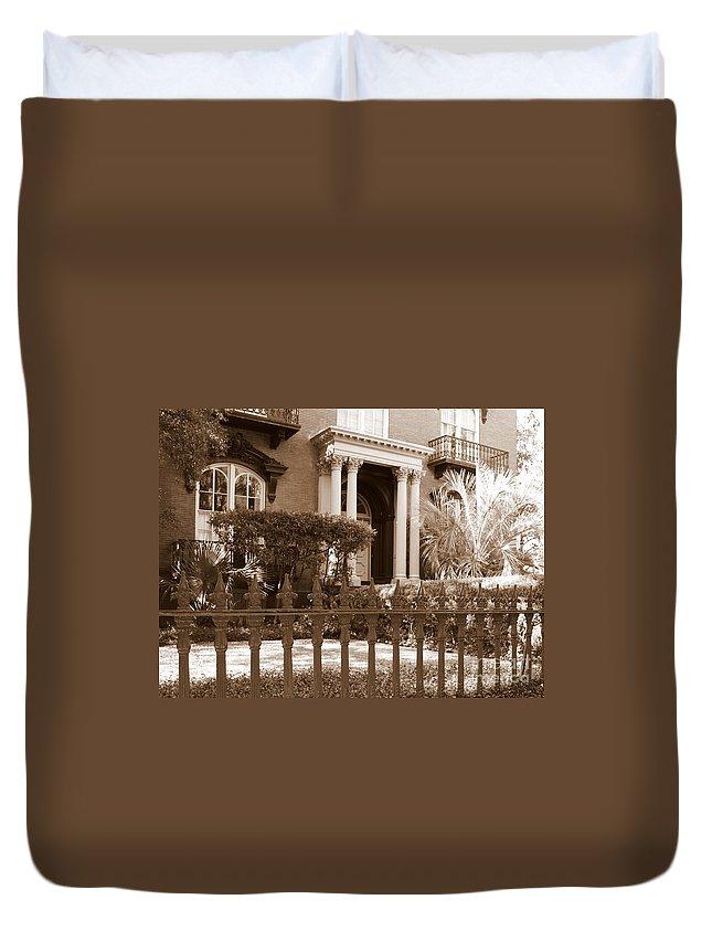 Savannah Duvet Cover featuring the photograph Savannah Sepia - Mercer House by Carol Groenen