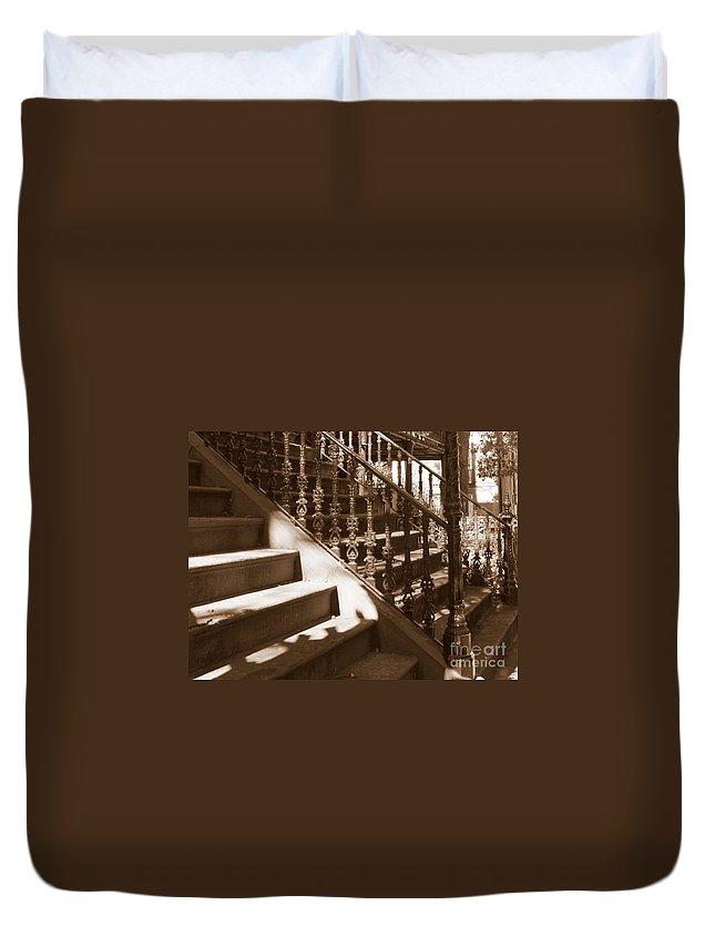 Sepia Duvet Cover featuring the photograph Savannah Sepia - Stairs by Carol Groenen
