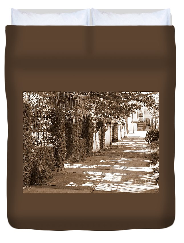 Savannah Duvet Cover featuring the photograph Savannah Sepia - Sunny Sidewalk by Carol Groenen