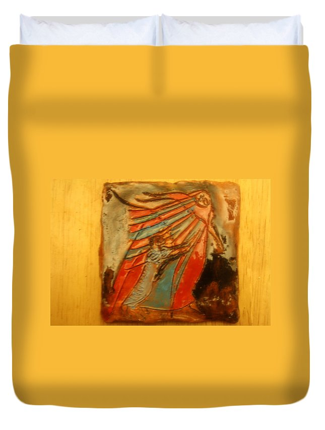 Jesus Duvet Cover featuring the ceramic art Save It - Tile by Gloria Ssali
