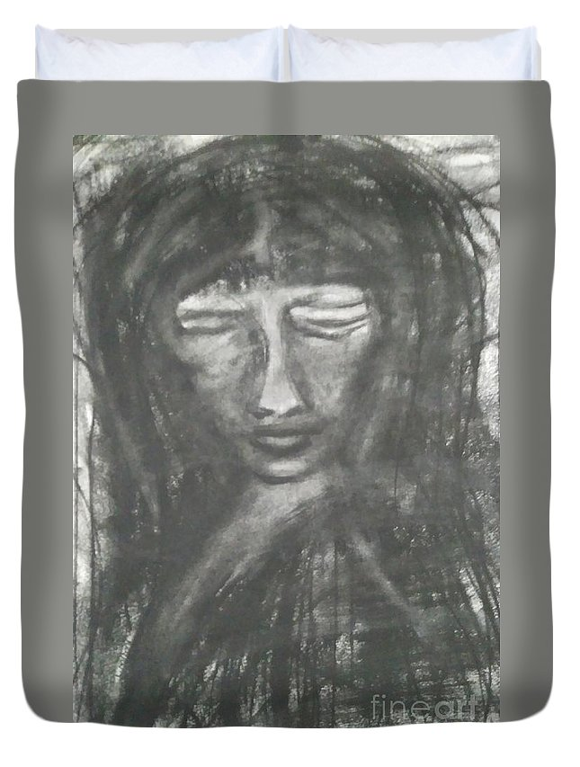 Illustration Charcoal Drawings Sketches Painting Black And White  Duvet Cover featuring the drawing Savia by Li Narboni
