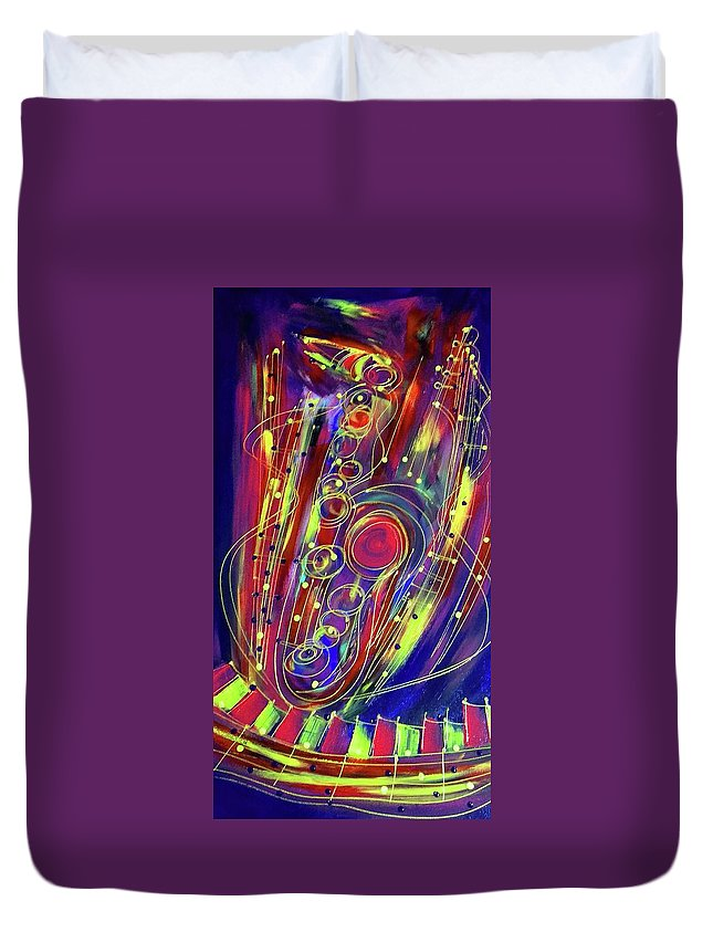 Jazz Duvet Cover featuring the painting Sax Jazzed In Pink by Robert L Berry