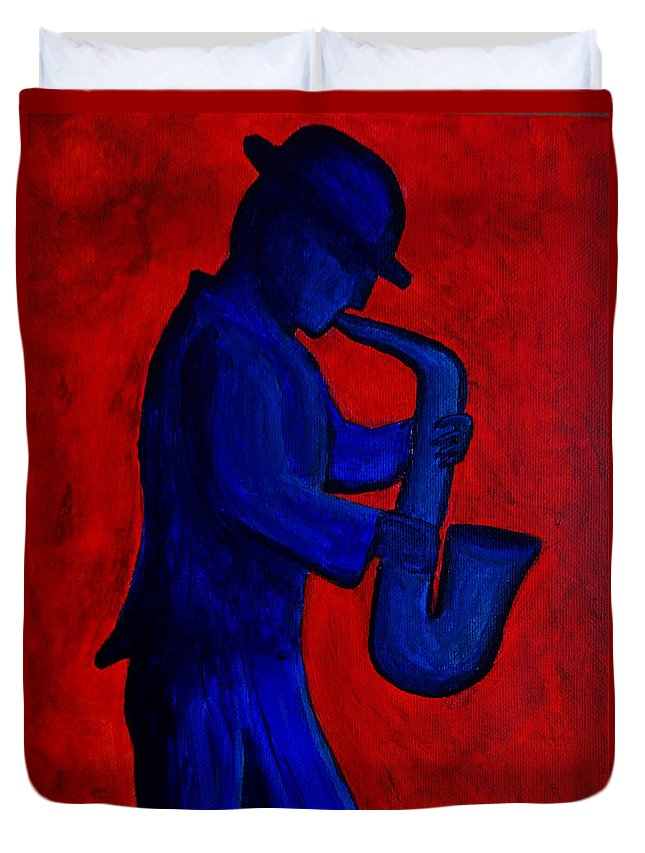 Sax Duvet Cover featuring the painting Sax Man by Alex Sowinski