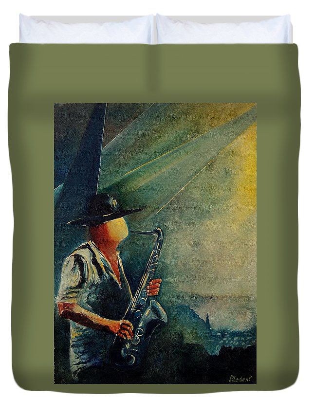 Music Duvet Cover featuring the painting Sax Player by Pol Ledent