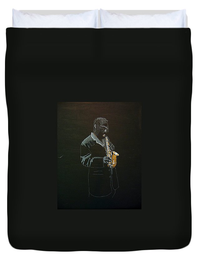 Sax Duvet Cover featuring the painting Sax Player by Richard Le Page