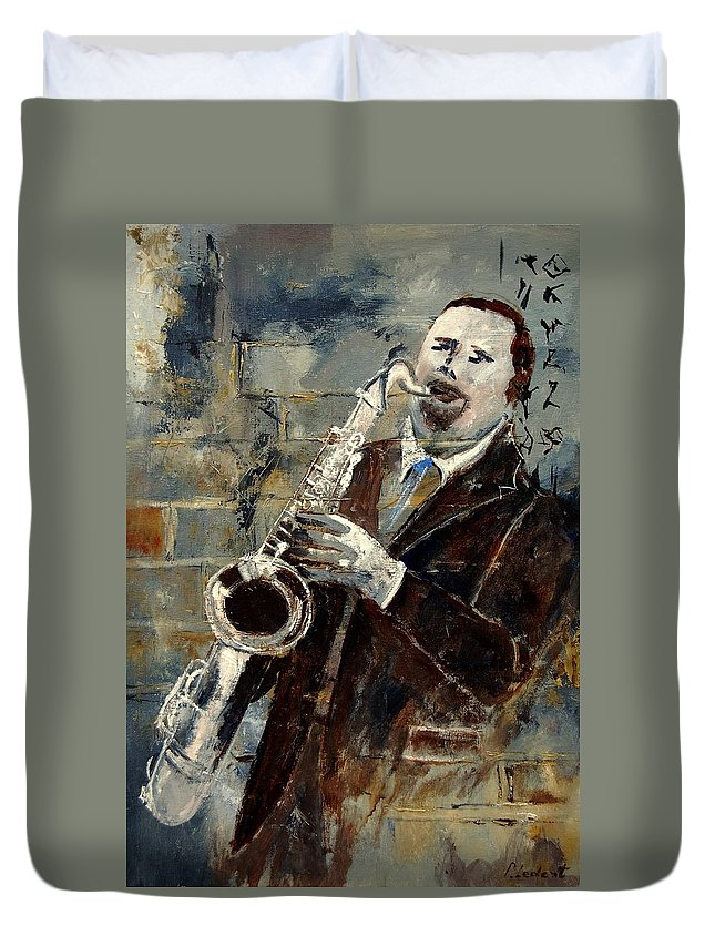 Music Duvet Cover featuring the painting Saxplayer 570120 by Pol Ledent