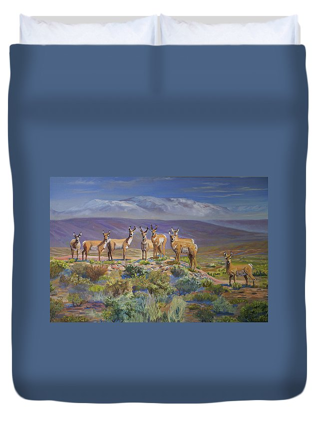 Antelope Duvet Cover featuring the painting Say Cheese Antelope by Heather Coen