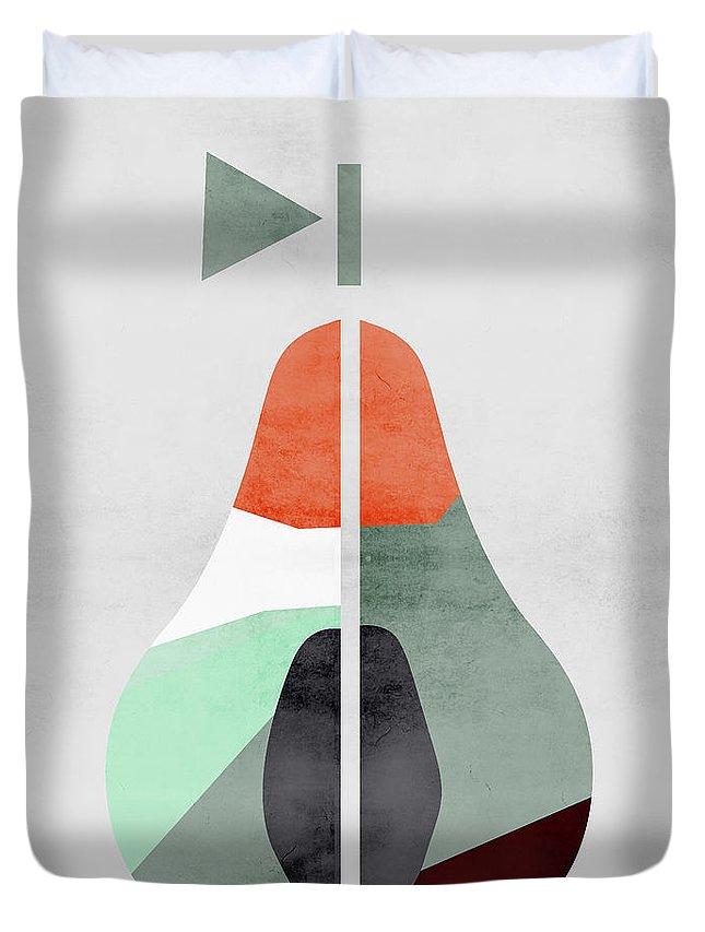Scandinavian Duvet Cover featuring the digital art Scandinavian Art Pear Fruit by Pati Photography