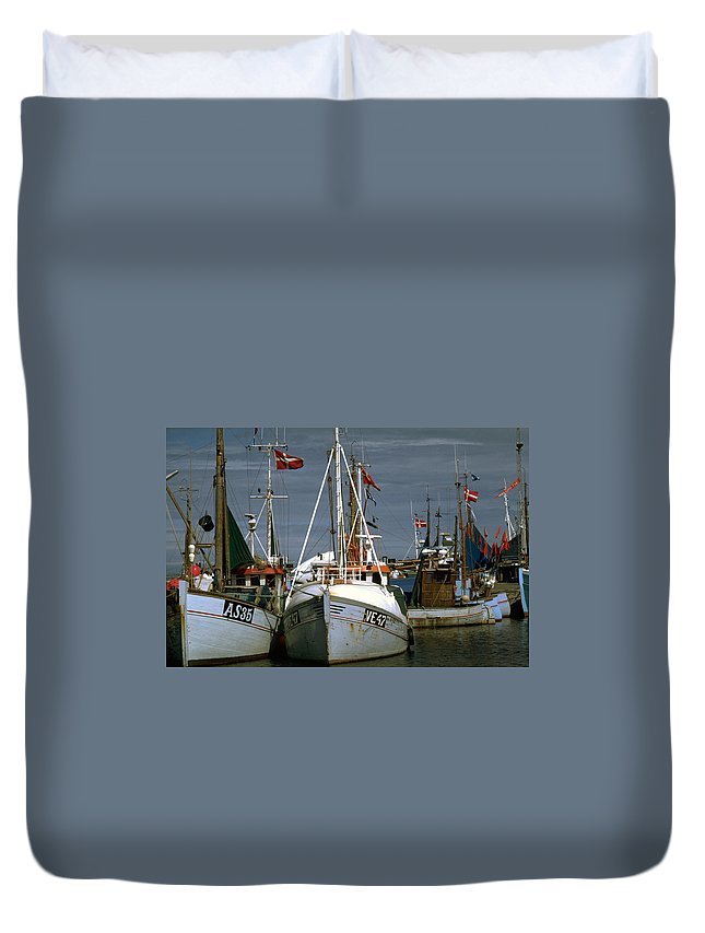 Scandinavian Duvet Cover featuring the photograph Scandinavian Fisher Boats by Flavia Westerwelle