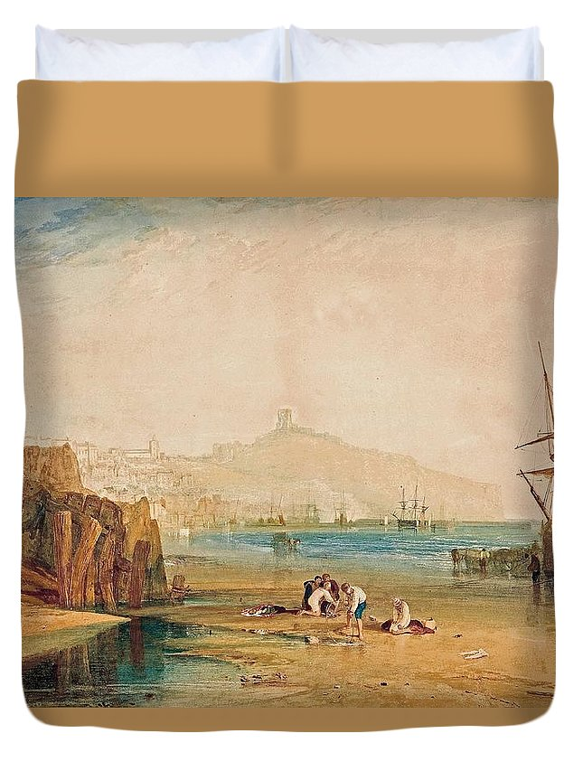 Scarborough Town And Castle Duvet Cover featuring the painting Scarborough Town And Castle Morning Boys Catching Crabs by Grypons Art