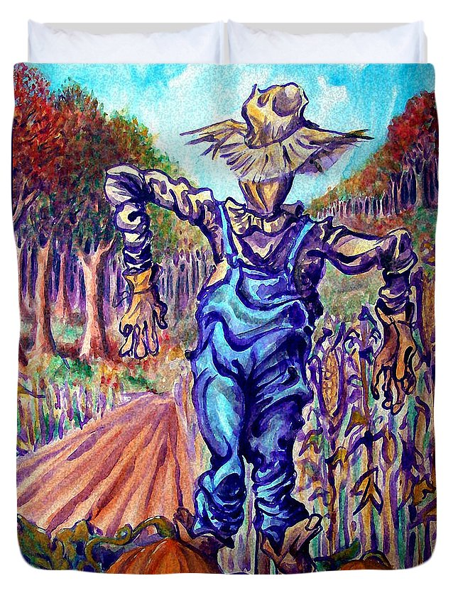 Scarecrow Duvet Cover featuring the painting Scarecrow by Kevin Middleton
