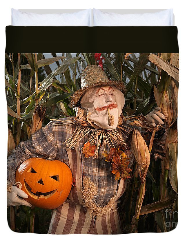 Scarecrow Duvet Cover featuring the photograph Scarecrow With A Carved Pumpkin In A Corn Field by Oleksiy Maksymenko