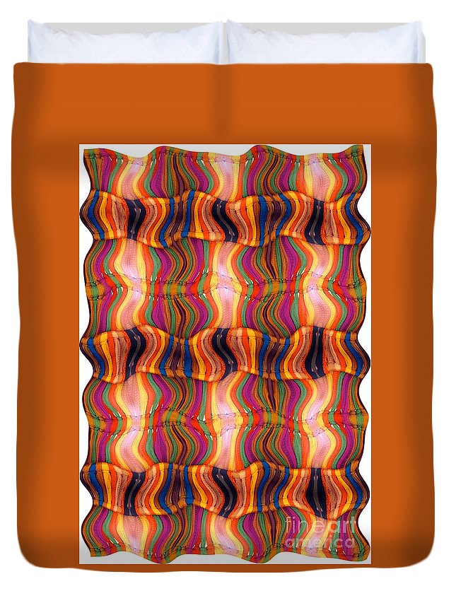 Abstract Duvet Cover featuring the digital art Scarf It Up by Ron Bissett