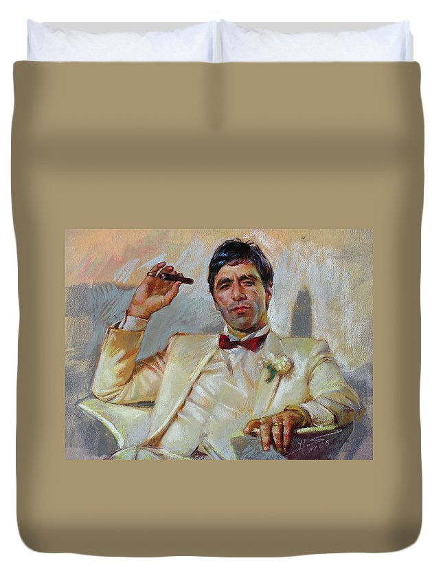 Scarface Duvet Cover featuring the pastel Scarface by Ylli Haruni