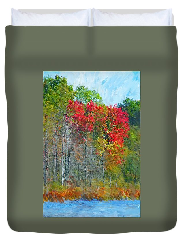 Landscape Duvet Cover featuring the digital art Scarlet Autumn Burst by David Lane