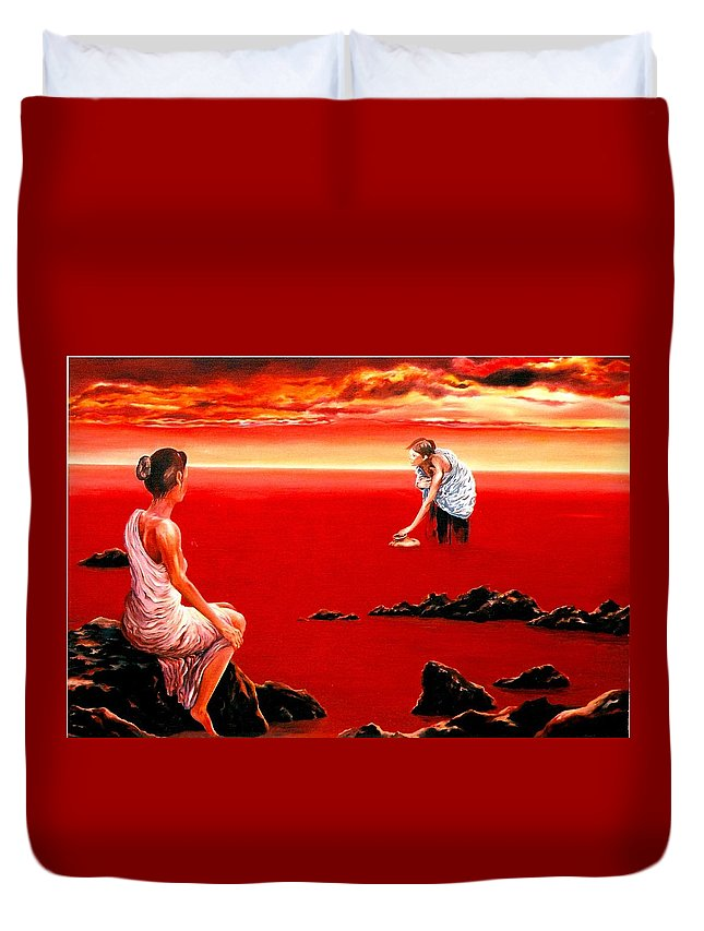 Red Duvet Cover featuring the painting Scarlet Evening In December by Mark Cawood