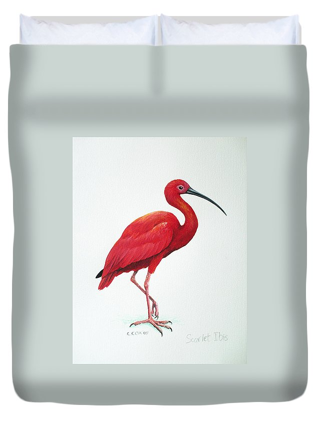 Scarlet Ibis Duvet Cover featuring the painting Scarlet Ibis by Christopher Cox